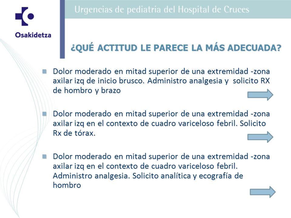 Pasa al área de Observación de Urgencias donde se inicia analgesia y tratamiento antibiótico parenteral (amoxicilina- clavulánico) Pasa al área de Observación de Urgencias donde se inicia analgesia y tratamiento antibiótico parenteral (amoxicilina- clavulánico) Se solicita ecografía de región axilar: pelotón de adenopatías (3x3x3), aspecto anfractuoso, con probable abcesificación de las mismas.