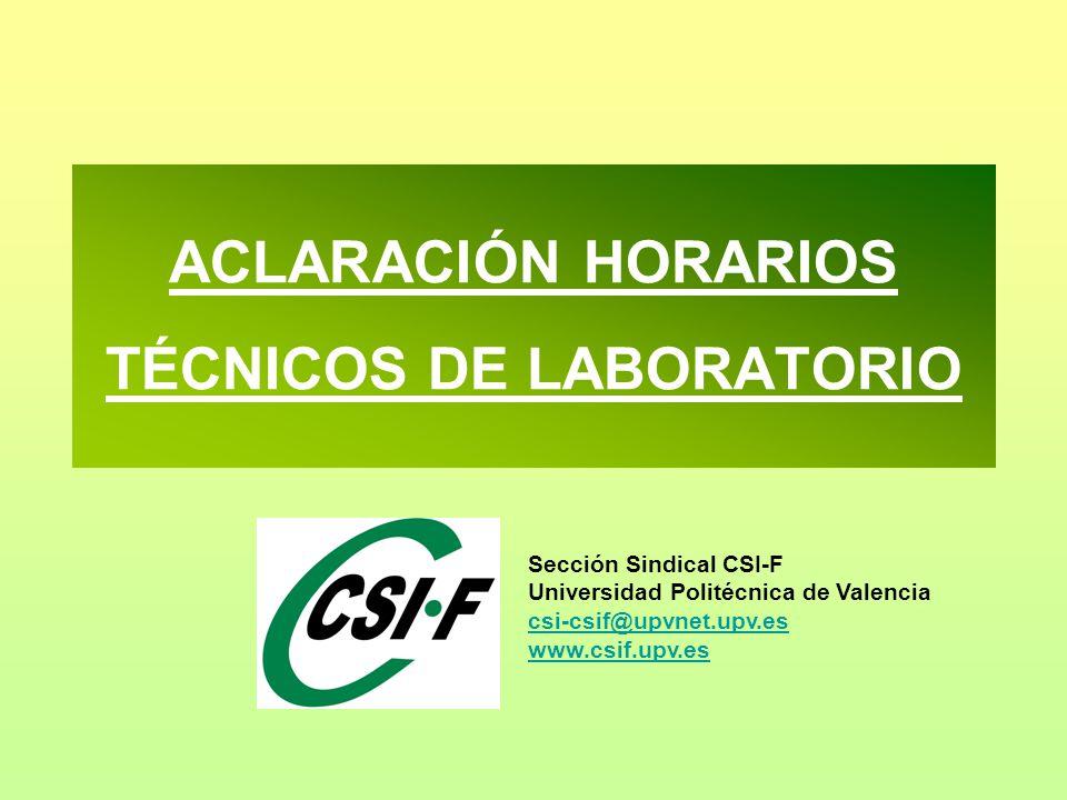 ACLARACIÓN HORARIOS TÉCNICOS DE LABORATORIO Sección Sindical CSI-F Universidad Politécnica de Valencia csi-csif@upvnet.upv.es www.csif.upv.es csi-csif@upvnet.upv.es www.csif.upv.es
