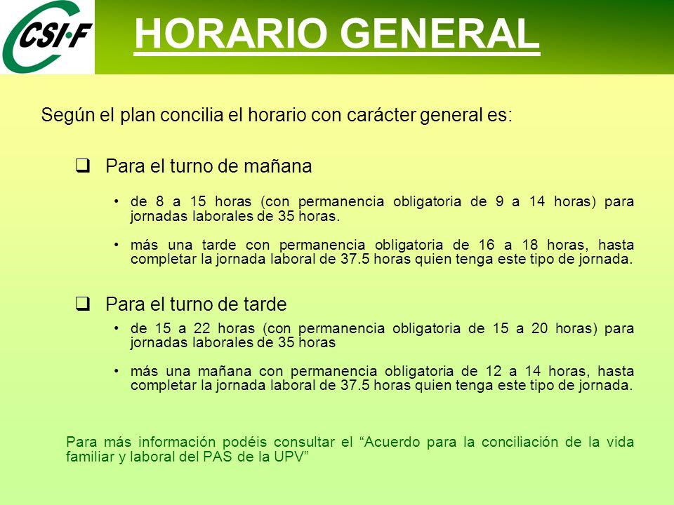 HORARIO GENERAL Según el plan concilia el horario con carácter general es:  Para el turno de mañana de 8 a 15 horas (con permanencia obligatoria de 9 a 14 horas) para jornadas laborales de 35 horas.