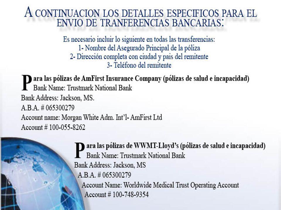 A continuacion los detalles especificos para el envio de transferencias bancarias.