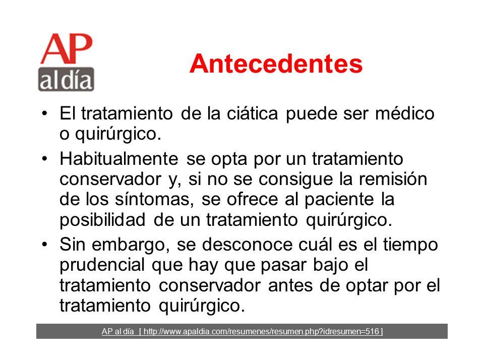 Tratamiento de la ciática: ¿cirugía temprana o tratamiento conservador.