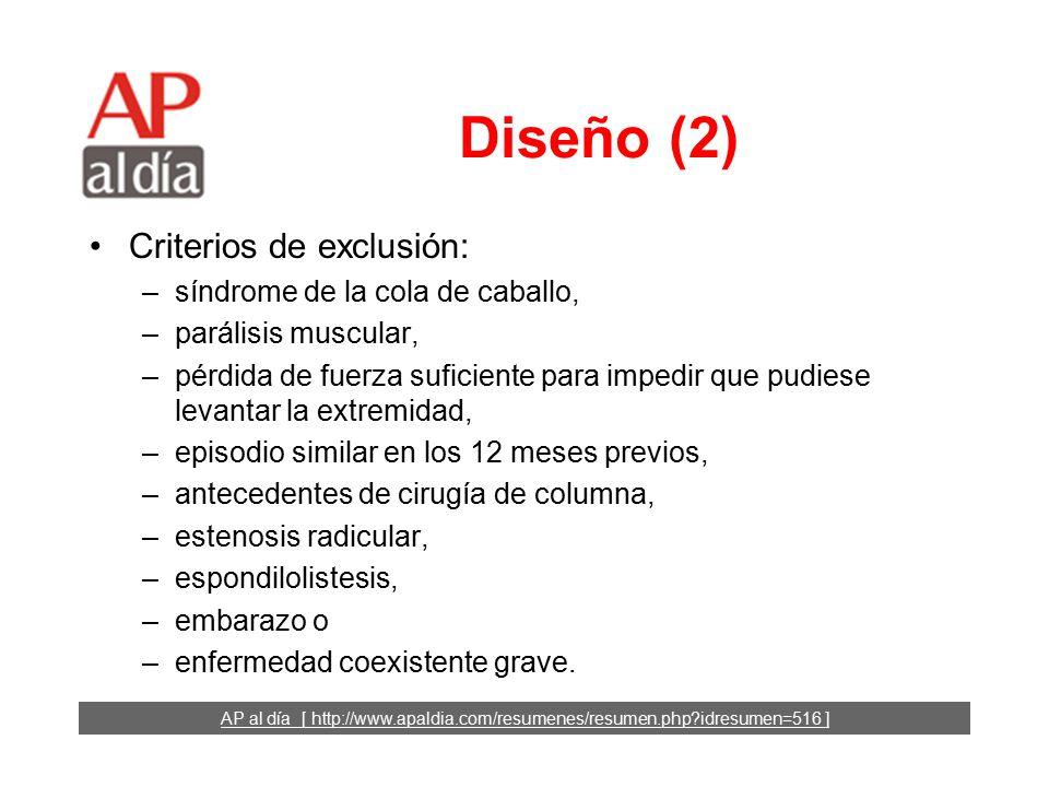 AP al día [ http://www.apaldia.com/resumenes/resumen.php idresumen=516 ] Diseño (1) Ensayo clínico.