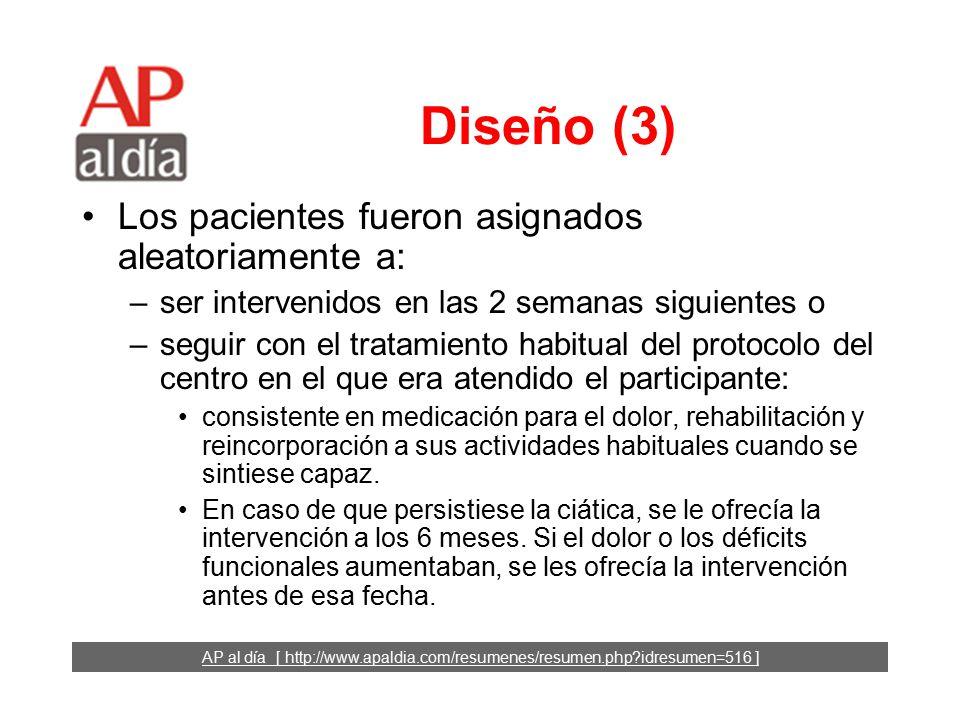 AP al día [ http://www.apaldia.com/resumenes/resumen.php idresumen=516 ] Diseño (2) Criterios de exclusión: –síndrome de la cola de caballo, –parálisis muscular, –pérdida de fuerza suficiente para impedir que pudiese levantar la extremidad, –episodio similar en los 12 meses previos, –antecedentes de cirugía de columna, –estenosis radicular, –espondilolistesis, –embarazo o –enfermedad coexistente grave.
