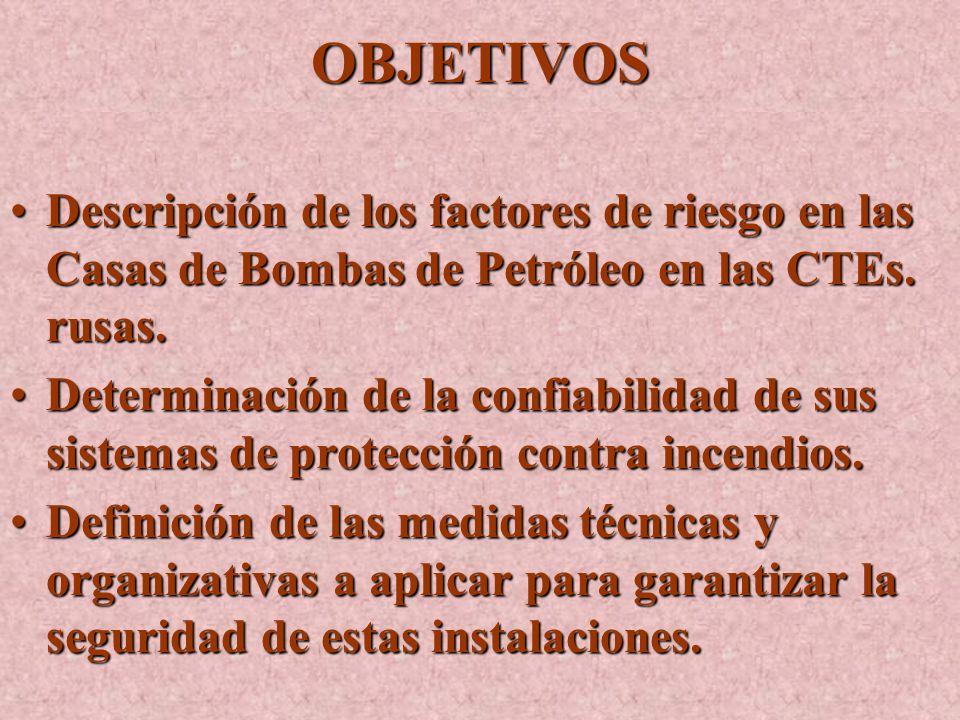 OBJETIVOS Descripción de los factores de riesgo en las Casas de Bombas de Petróleo en las CTEs.