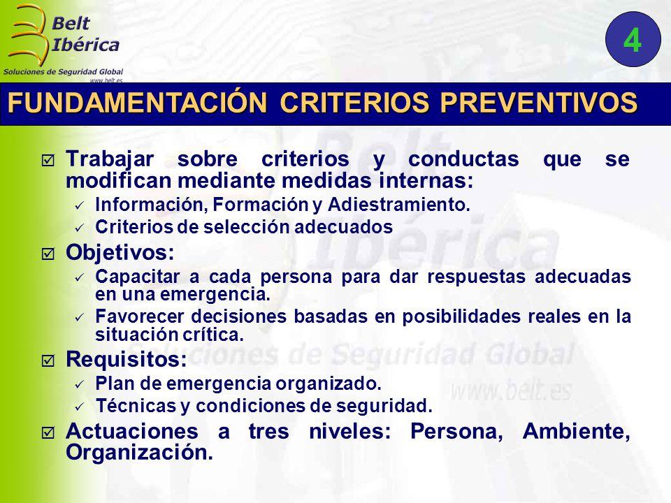  Trabajar sobre criterios y conductas que se modifican mediante medidas internas: Información, Formación y Adiestramiento.