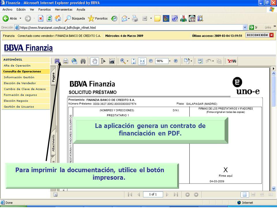 La aplicación genera un contrato de financiación en PDF.