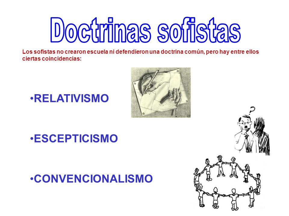 RELATIVISMO ESCEPTICISMO CONVENCIONALISMO Los sofistas no crearon escuela ni defendieron una doctrina común, pero hay entre ellos ciertas coincidencias: