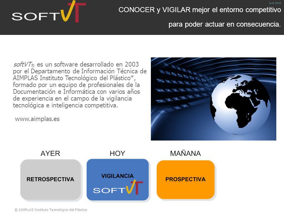 © AIMPLAS Instituto Tecnológico del Plástico Julio 2010 CONOCER y VIGILAR mejor el entorno competitivo para poder actuar en consecuencia.