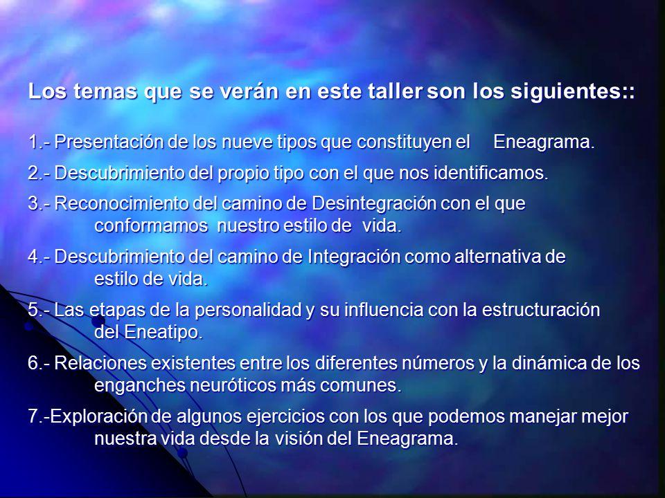 Los temas que se verán en este taller son los siguientes:: 1.- Presentación de los nueve tipos que constituyen el Eneagrama.