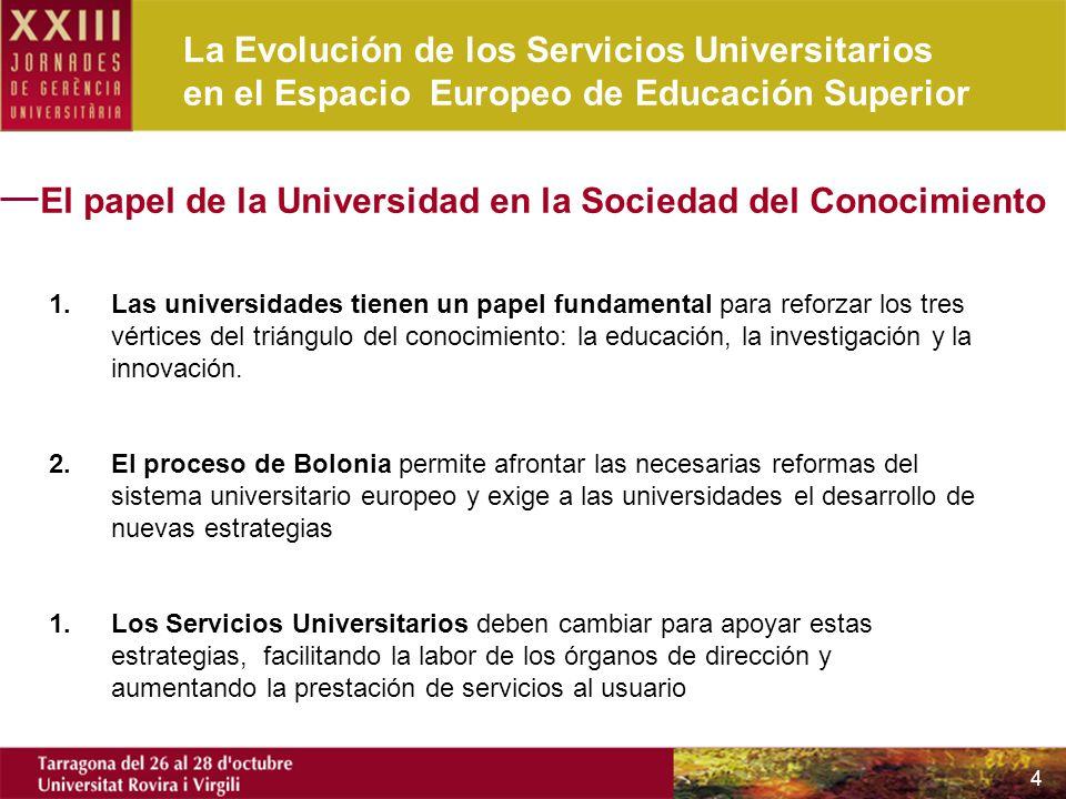 La Evolución de los Servicios Universitarios en el Espacio Europeo de Educación Superior 4 El papel de la Universidad en la Sociedad del Conocimiento 1.Las universidades tienen un papel fundamental para reforzar los tres vértices del triángulo del conocimiento: la educación, la investigación y la innovación.