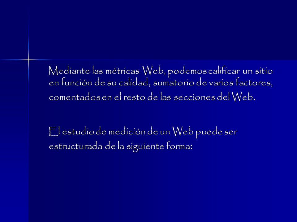 Mediante las métricas Web, podemos calificar un sitio en función de su calidad, sumatorio de varios factores, comentados en el resto de las secciones del Web.