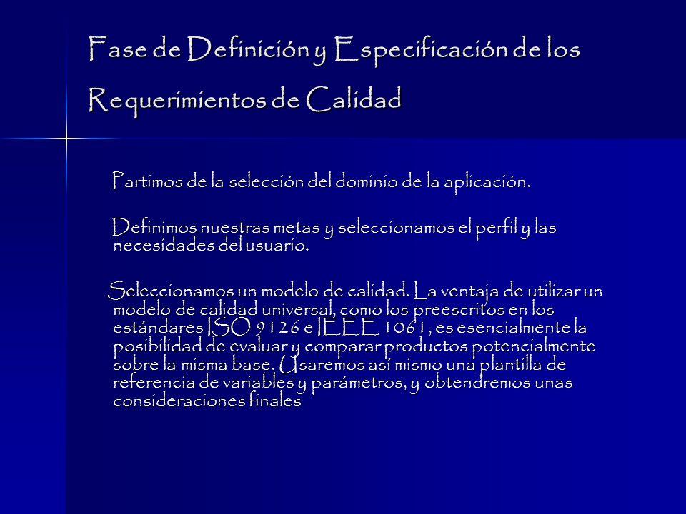 Fase de Definición y Especificación de los Requerimientos de Calidad Partimos de la selección del dominio de la aplicación.