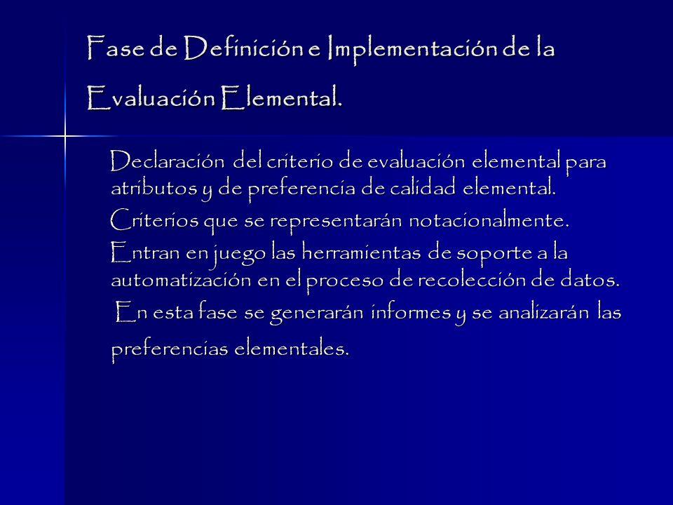 Fase de Definición e Implementación de la Evaluación Elemental.