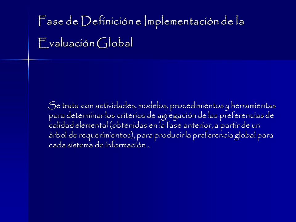 Fase de Definición e Implementación de la Evaluación Global Se trata con actividades, modelos, procedimientos y herramientas para determinar los criterios de agregación de las preferencias de calidad elemental (obtenidas en la fase anterior, a partir de un árbol de requerimientos), para producir la preferencia global para cada sistema de información.
