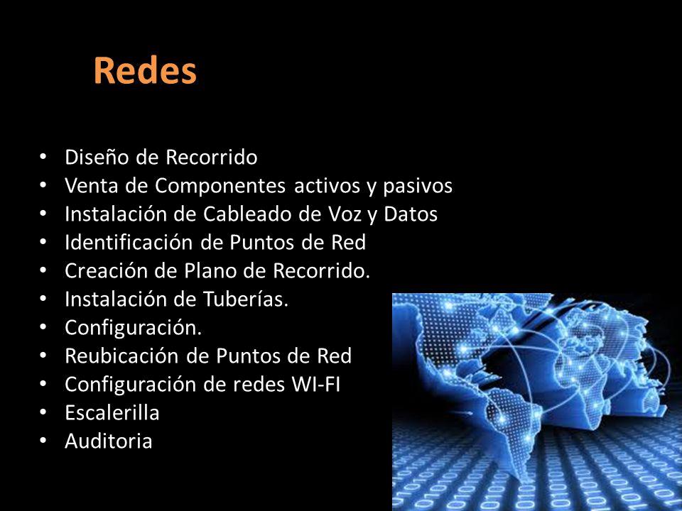 Redes Diseño de Recorrido Venta de Componentes activos y pasivos Instalación de Cableado de Voz y Datos Identificación de Puntos de Red Creación de Plano de Recorrido.