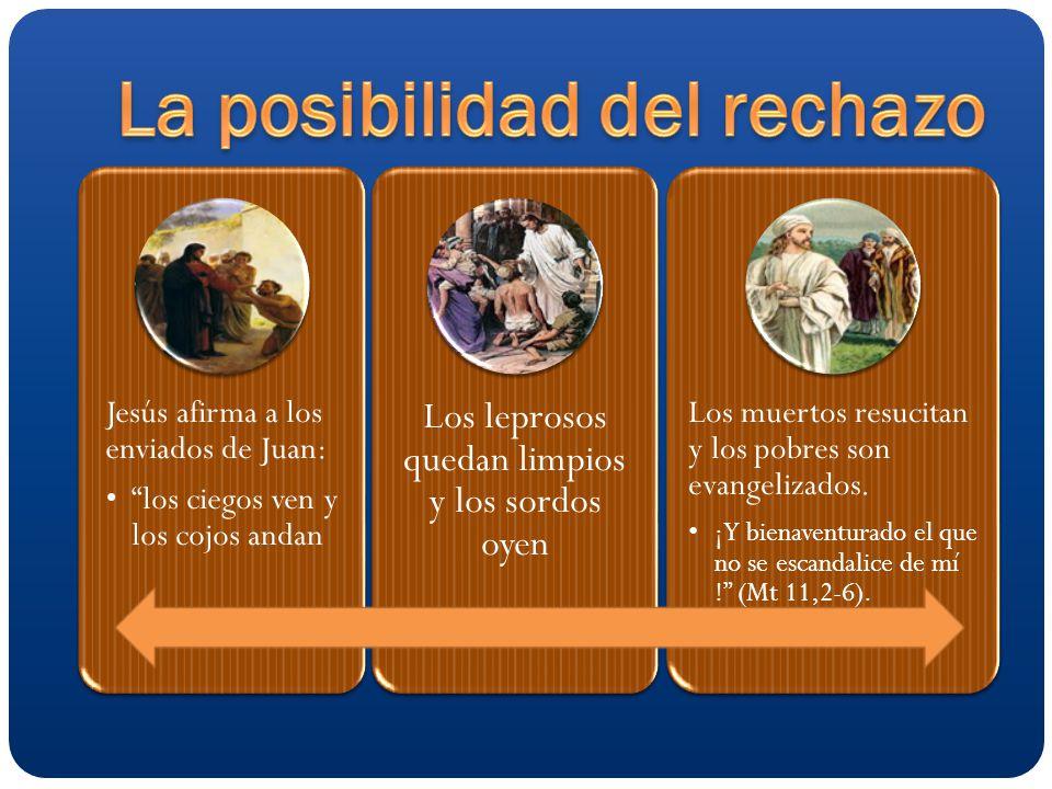 Jesús afirma a los enviados de Juan: los ciegos ven y los cojos andan Los leprosos quedan limpios y los sordos oyen Los muertos resucitan y los pobres son evangelizados.