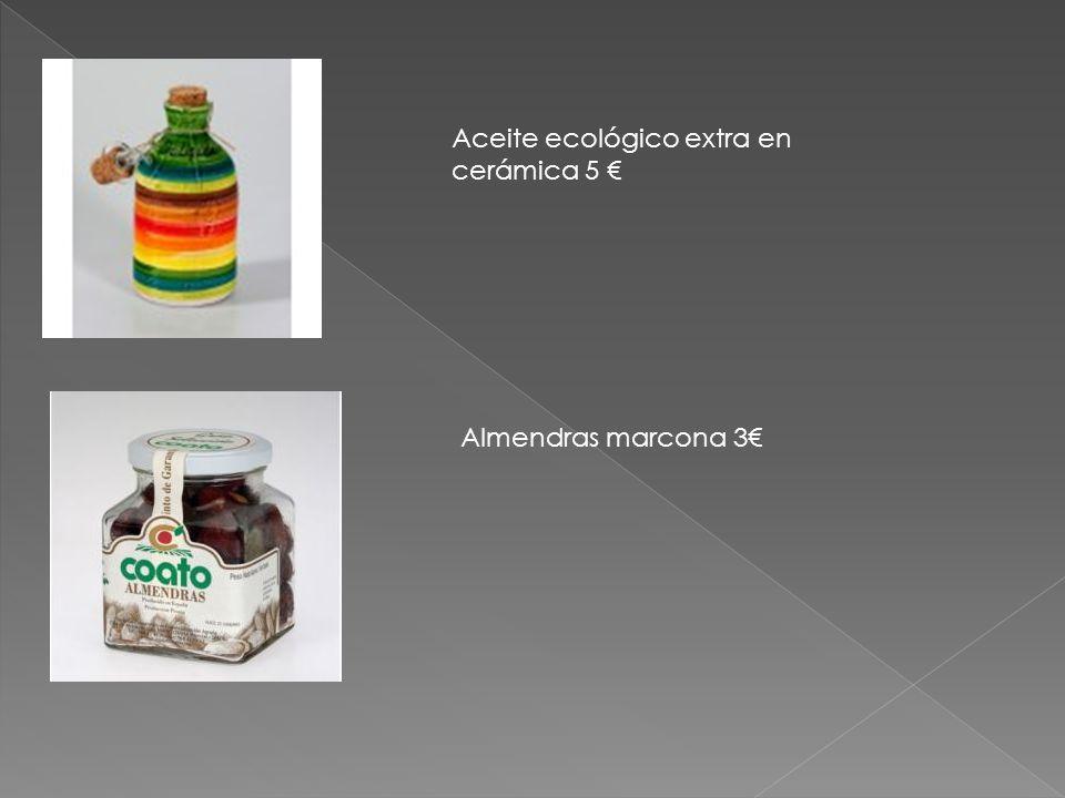 Aceite ecológico extra en cerámica 5 € Almendras marcona 3€