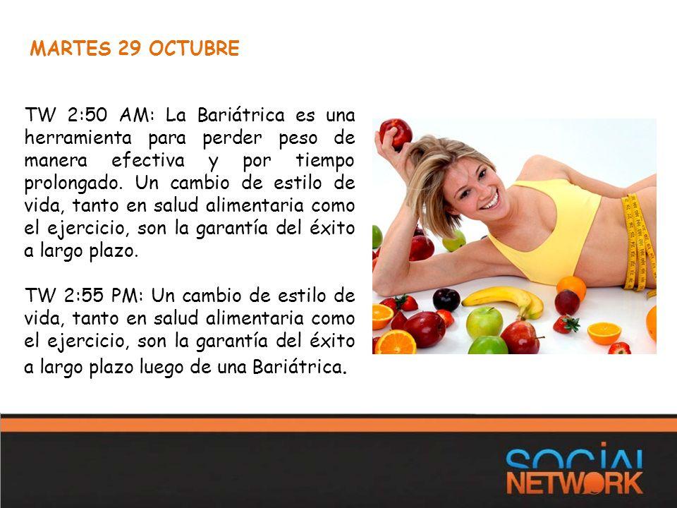 MARTES 29 OCTUBRE TW 2:50 AM: La Bariátrica es una herramienta para perder peso de manera efectiva y por tiempo prolongado.
