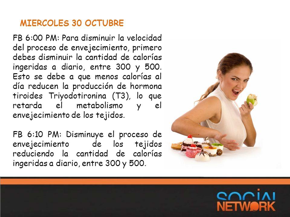 MIERCOLES 30 OCTUBRE FB 6:00 PM: Para disminuir la velocidad del proceso de envejecimiento, primero debes disminuir la cantidad de calorías ingeridas a diario, entre 300 y 500.