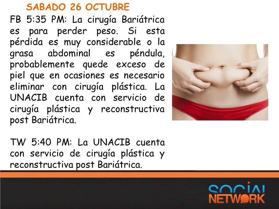 SABADO 26 OCTUBRE FB 5:35 PM: La cirugía Bariátrica es para perder peso.