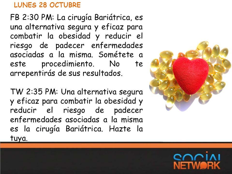 FB 2:30 PM: La cirugía Bariátrica, es una alternativa segura y eficaz para combatir la obesidad y reducir el riesgo de padecer enfermedades asociadas a la misma.