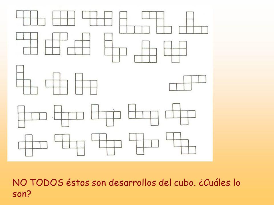 NO TODOS éstos son desarrollos del cubo. ¿Cuáles lo son?