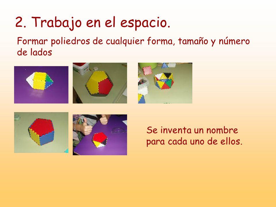 2. Trabajo en el espacio. Formar poliedros de cualquier forma, tamaño y número de lados Se inventa un nombre para cada uno de ellos.