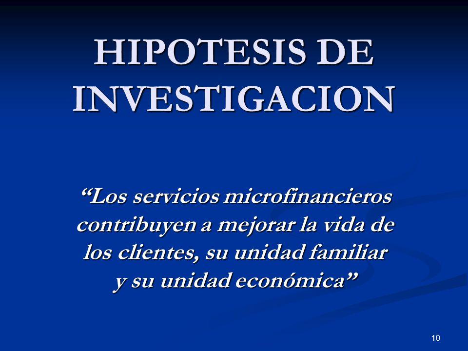 10 HIPOTESIS DE INVESTIGACION Los servicios microfinancieros contribuyen a mejorar la vida de los clientes, su unidad familiar y su unidad económica