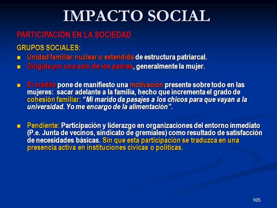 105 IMPACTO SOCIAL GRUPOS SOCIALES: Unidad familiar nuclear o extendida de estructura patriarcal.
