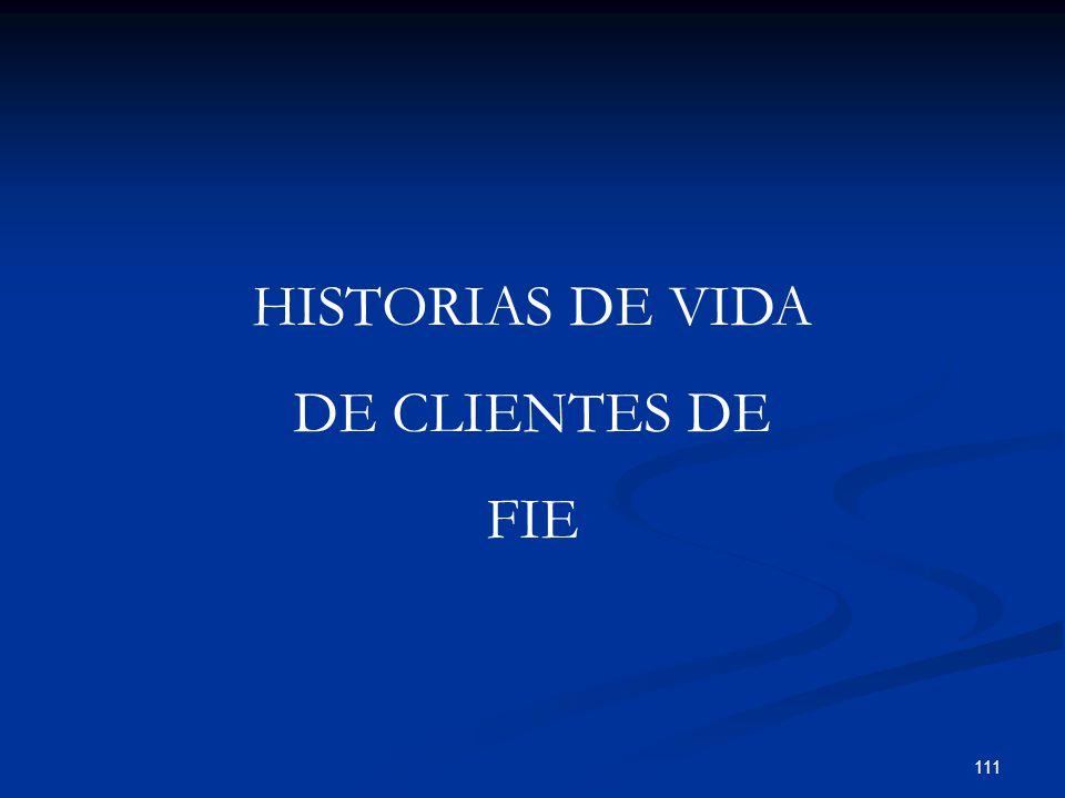 111 HISTORIAS DE VIDA DE CLIENTES DE FIE