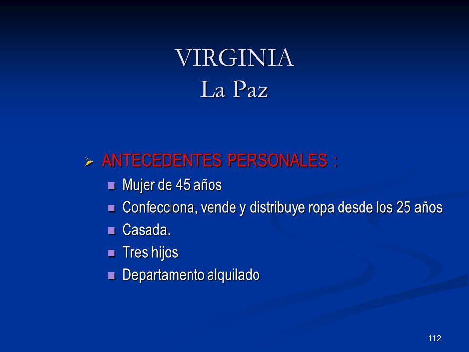 112 VIRGINIA La Paz  ANTECEDENTES PERSONALES : Mujer de 45 años Mujer de 45 años Confecciona, vende y distribuye ropa desde los 25 años Confecciona, vende y distribuye ropa desde los 25 años Casada.