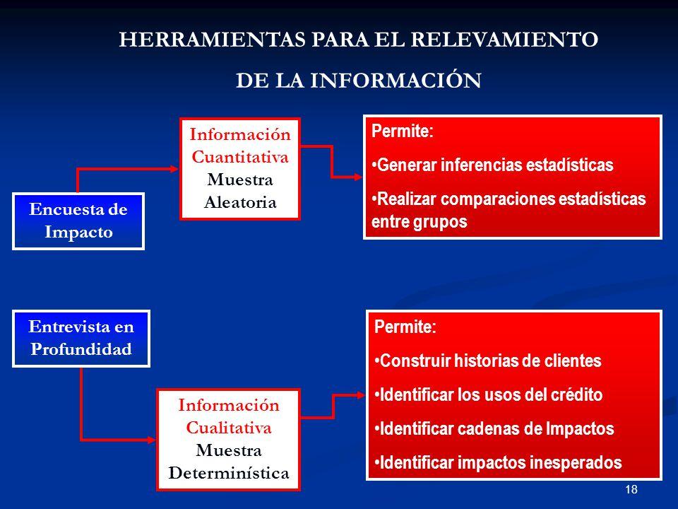 18 HERRAMIENTAS PARA EL RELEVAMIENTO DE LA INFORMACIÓN Encuesta de Impacto Entrevista en Profundidad Información Cuantitativa Muestra Aleatoria Información Cualitativa Muestra Determinística Permite: Construir historias de clientes Identificar los usos del crédito Identificar cadenas de Impactos Identificar impactos inesperados Permite: Generar inferencias estadísticas Realizar comparaciones estadísticas entre grupos