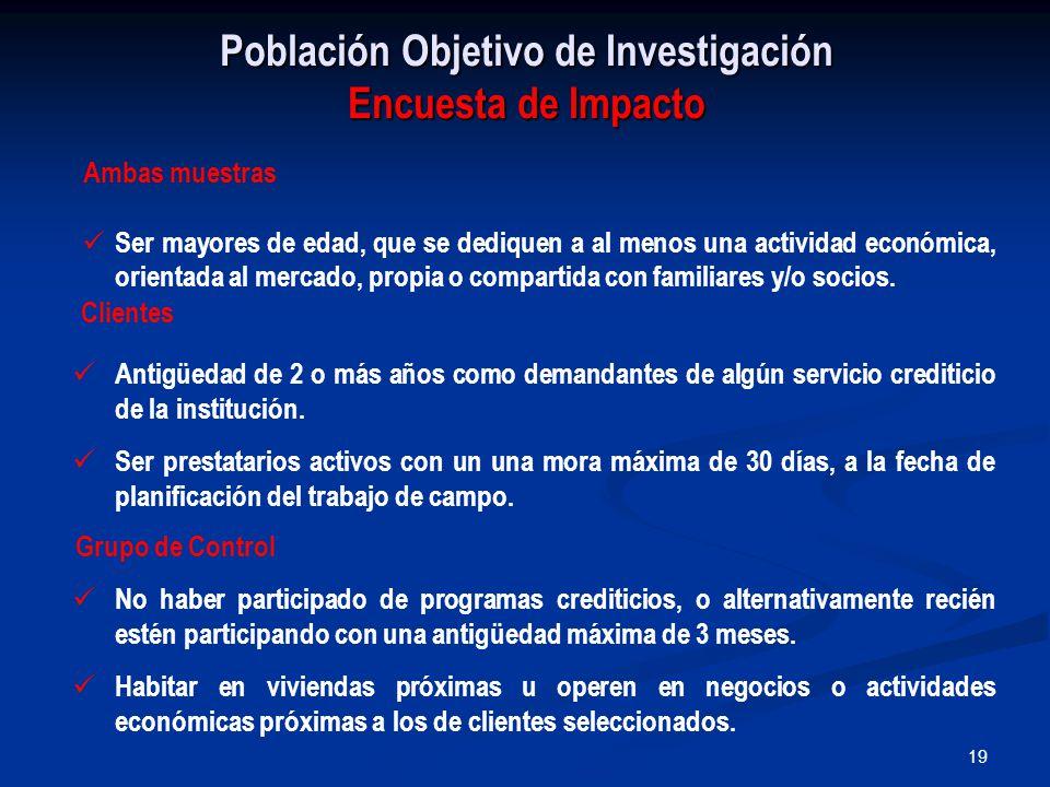19 Población Objetivo de Investigación Encuesta de Impacto Clientes Antigüedad de 2 o más años como demandantes de algún servicio crediticio de la institución.