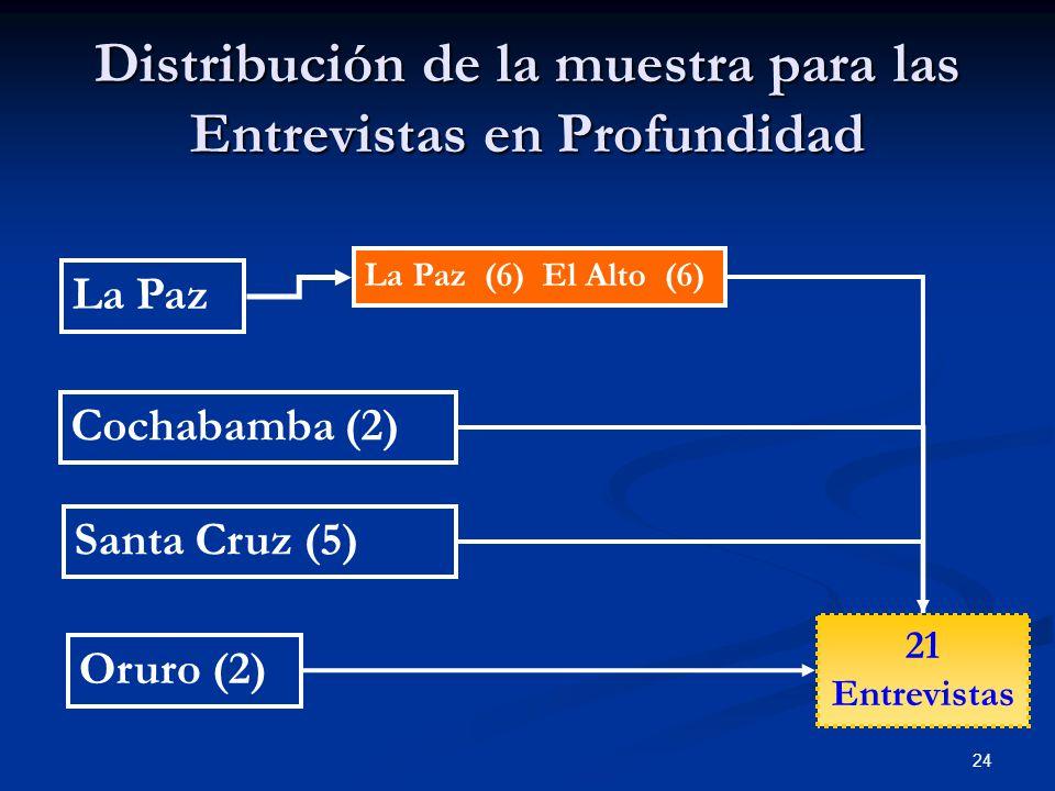 24 Distribución de la muestra para las Entrevistas en Profundidad La Paz Cochabamba (2) Santa Cruz (5) Oruro (2) La Paz (6) El Alto (6) 21 Entrevistas