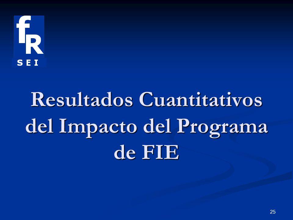 25 Resultados Cuantitativos del Impacto del Programa de FIE