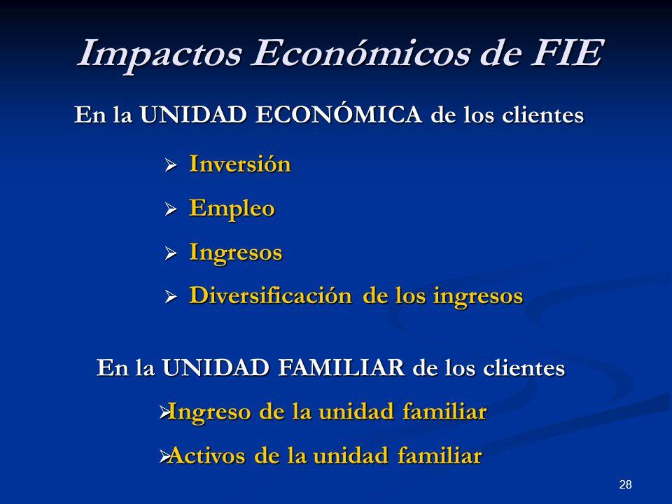 28 Impactos Económicos de FIE  Inversión  Empleo  Ingresos  Diversificación de los ingresos En la UNIDAD ECONÓMICA de los clientes En la UNIDAD FAMILIAR de los clientes  Ingreso de la unidad familiar  Activos de la unidad familiar