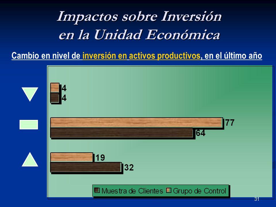 31 Impactos sobre Inversión en la Unidad Económica Cambio en nivel de inversión en activos productivos, en el último año