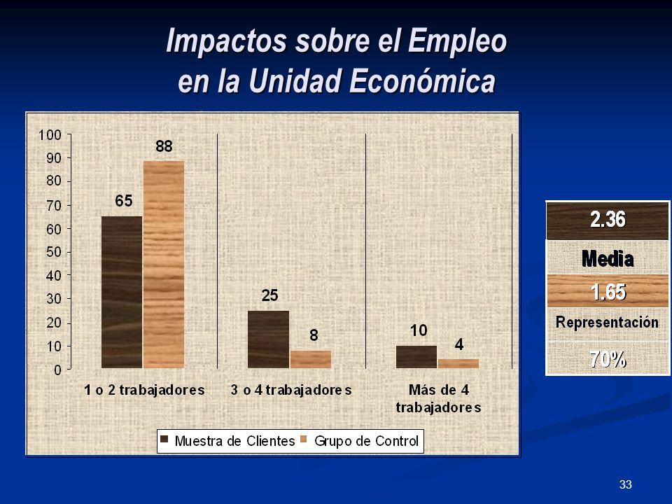 33 Impactos sobre el Empleo en la Unidad Económica NÚMERO DE TRABAJADORES