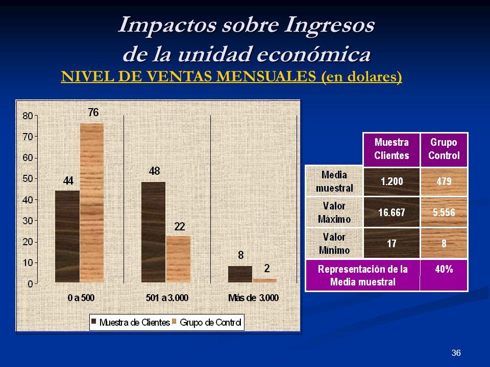 36 Impactos sobre Ingresos de la unidad económica NIVEL DE VENTAS MENSUALES (en dolares)