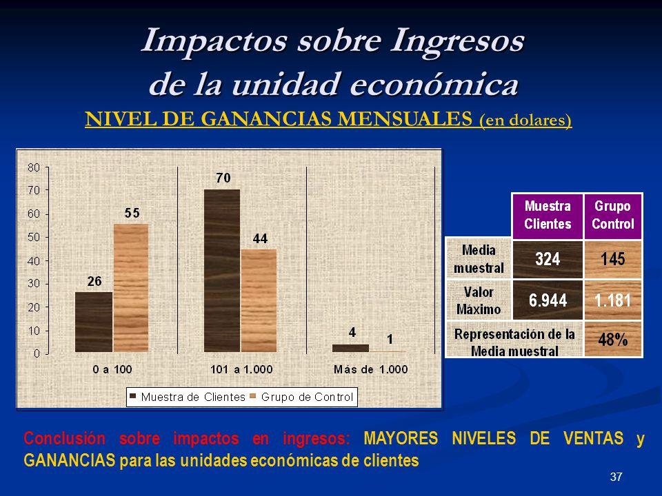 37 Impactos sobre Ingresos de la unidad económica NIVEL DE GANANCIAS MENSUALES (en dolares) Conclusión sobre impactos en ingresos: MAYORES NIVELES DE VENTAS y GANANCIAS para las unidades económicas de clientes