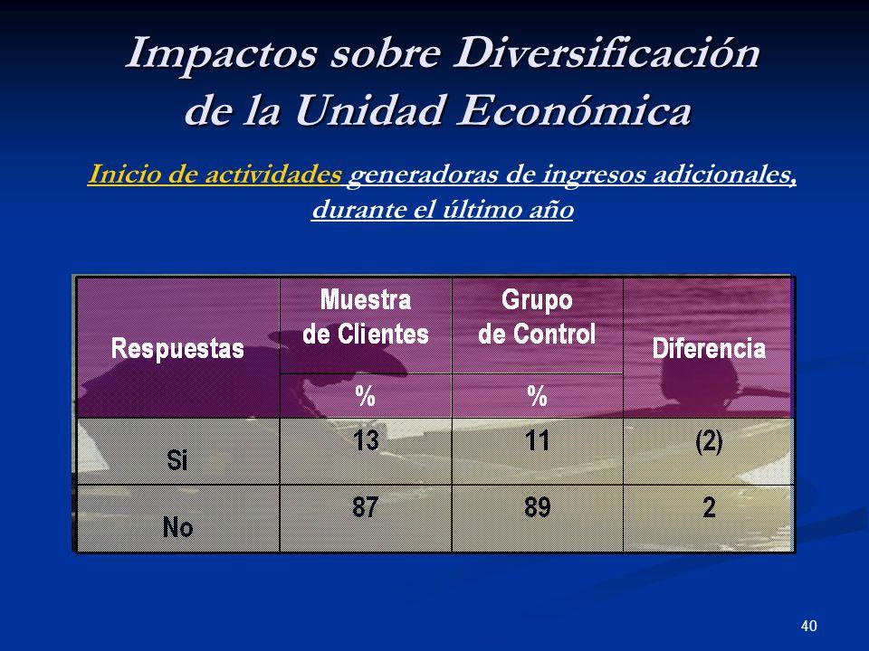 40 Impactos sobre Diversificación de la Unidad Económica Impactos sobre Diversificación de la Unidad Económica Inicio de actividades generadoras de ingresos adicionales, durante el último año