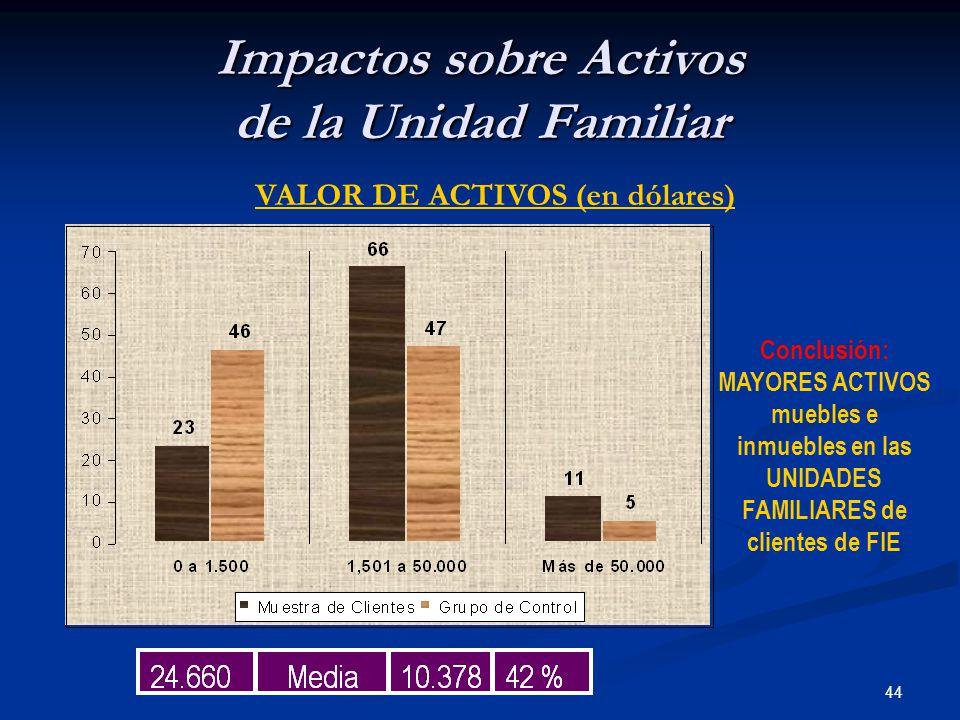 44 Impactos sobre Activos de la Unidad Familiar VALOR DE ACTIVOS (en dólares) Conclusión: MAYORES ACTIVOS muebles e inmuebles en las UNIDADES FAMILIARES de clientes de FIE