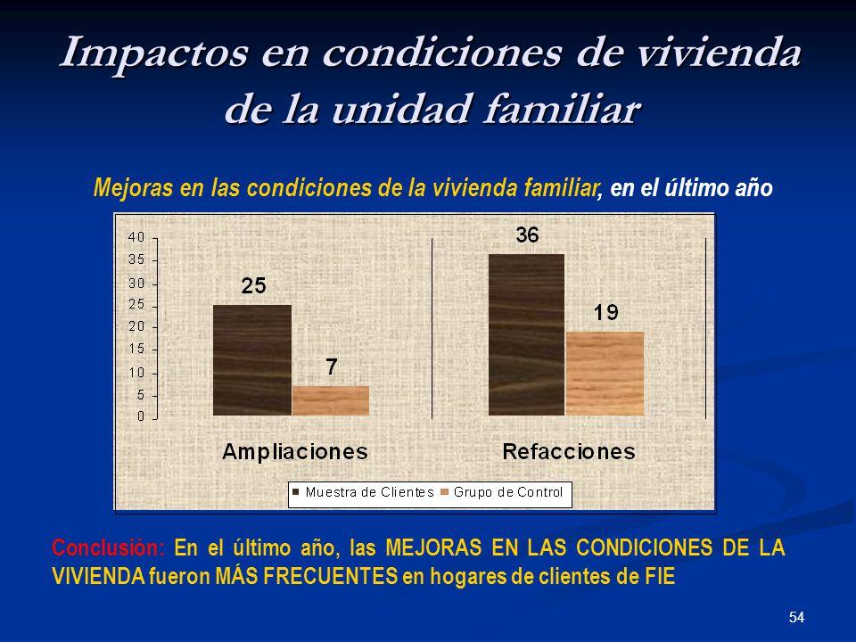54 Impactos en condiciones de vivienda de la unidad familiar Mejoras en las condiciones de la vivienda familiar, en el último año Conclusión: En el último año, las MEJORAS EN LAS CONDICIONES DE LA VIVIENDA fueron MÁS FRECUENTES en hogares de clientes de FIE