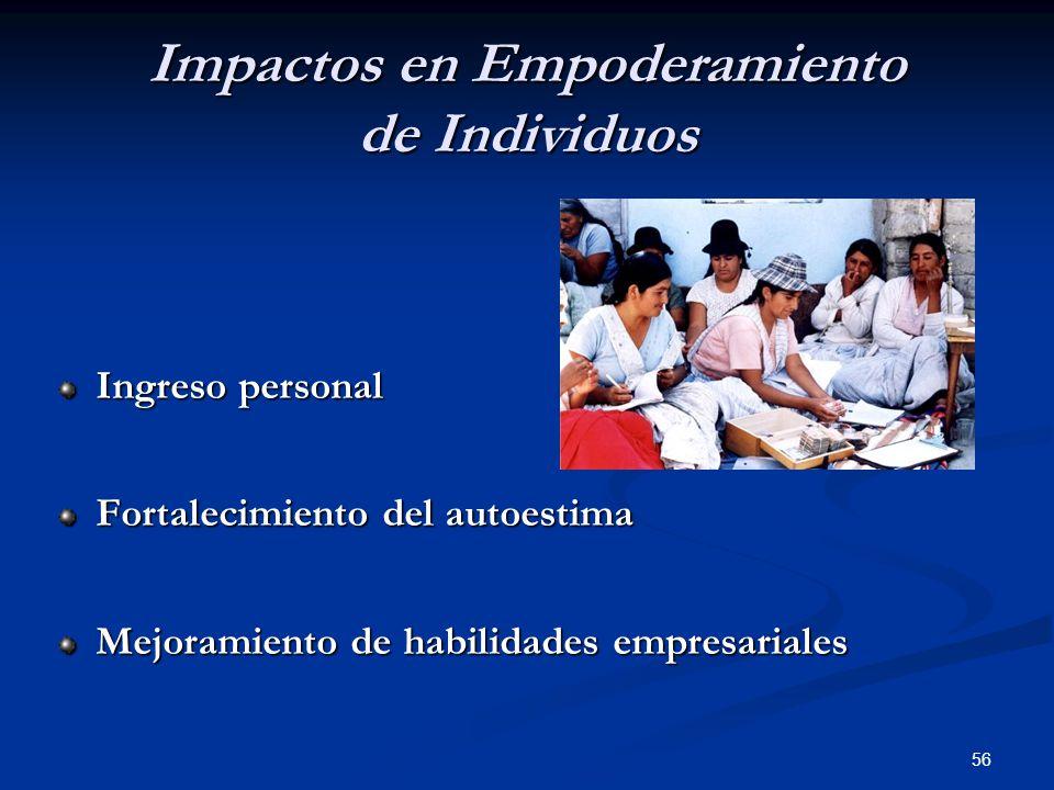 56 Impactos en Empoderamiento de Individuos Ingreso personal Fortalecimiento del autoestima Mejoramiento de habilidades empresariales