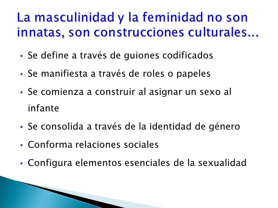  Se define a través de guiones codificados  Se manifiesta a través de roles o papeles  Se comienza a construir al asignar un sexo al infante  Se consolida a través de la identidad de género  Conforma relaciones sociales  Configura elementos esenciales de la sexualidad