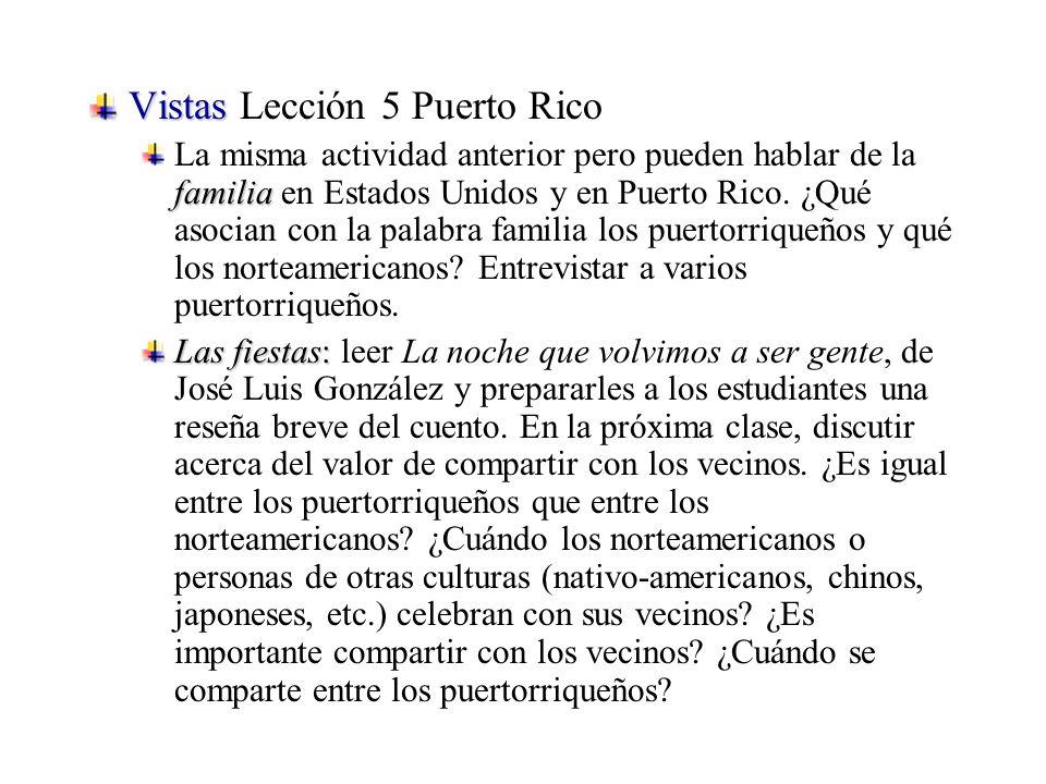 Vistas Vistas Lección 5 Puerto Rico familia La misma actividad anterior pero pueden hablar de la familia en Estados Unidos y en Puerto Rico.