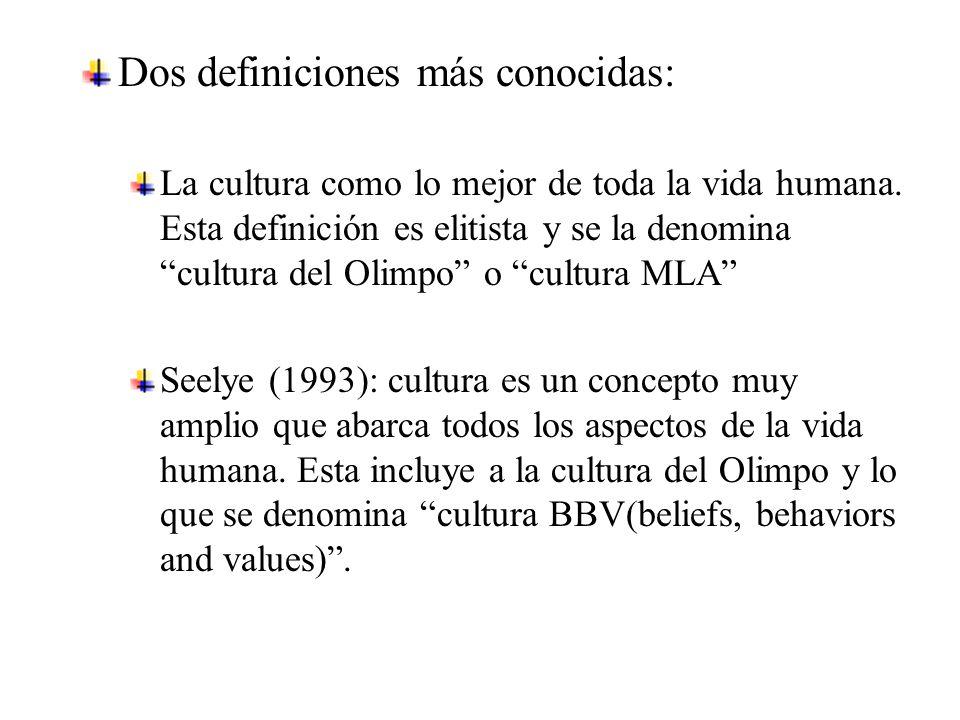 Dos definiciones más conocidas: La cultura como lo mejor de toda la vida humana.