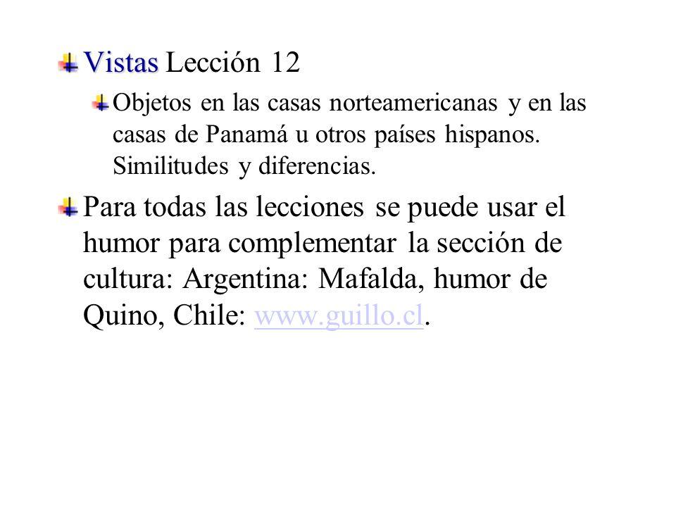Vistas Vistas Lección 12 Objetos en las casas norteamericanas y en las casas de Panamá u otros países hispanos.