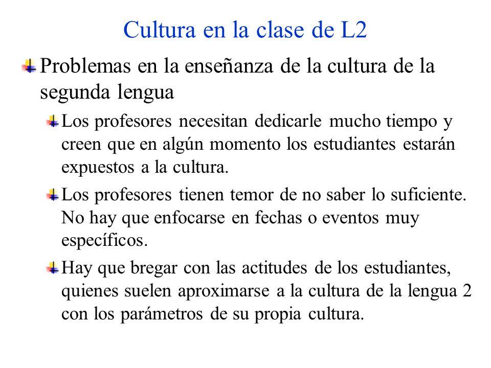 Cultura en la clase de L2 Problemas en la enseñanza de la cultura de la segunda lengua Los profesores necesitan dedicarle mucho tiempo y creen que en algún momento los estudiantes estarán expuestos a la cultura.