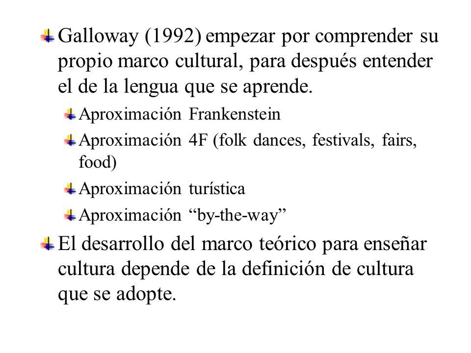 Galloway (1992) empezar por comprender su propio marco cultural, para después entender el de la lengua que se aprende.
